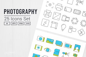 Photography 25 Icons Set UI/UX