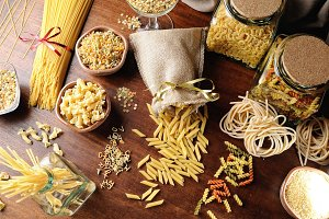 Various types of pasta top view
