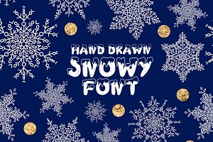 Handdrawn snowy display font