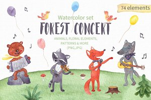 Forest Concert Watercolor Set