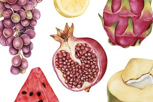 Hand drawn watercolor of fruit(PNG)