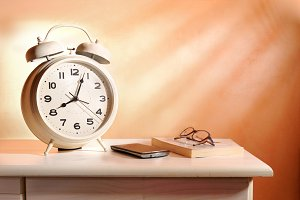 Bedside alarm clock and objects