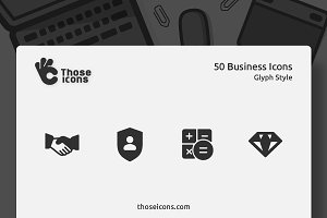 50 Business Vector Glyph Icon