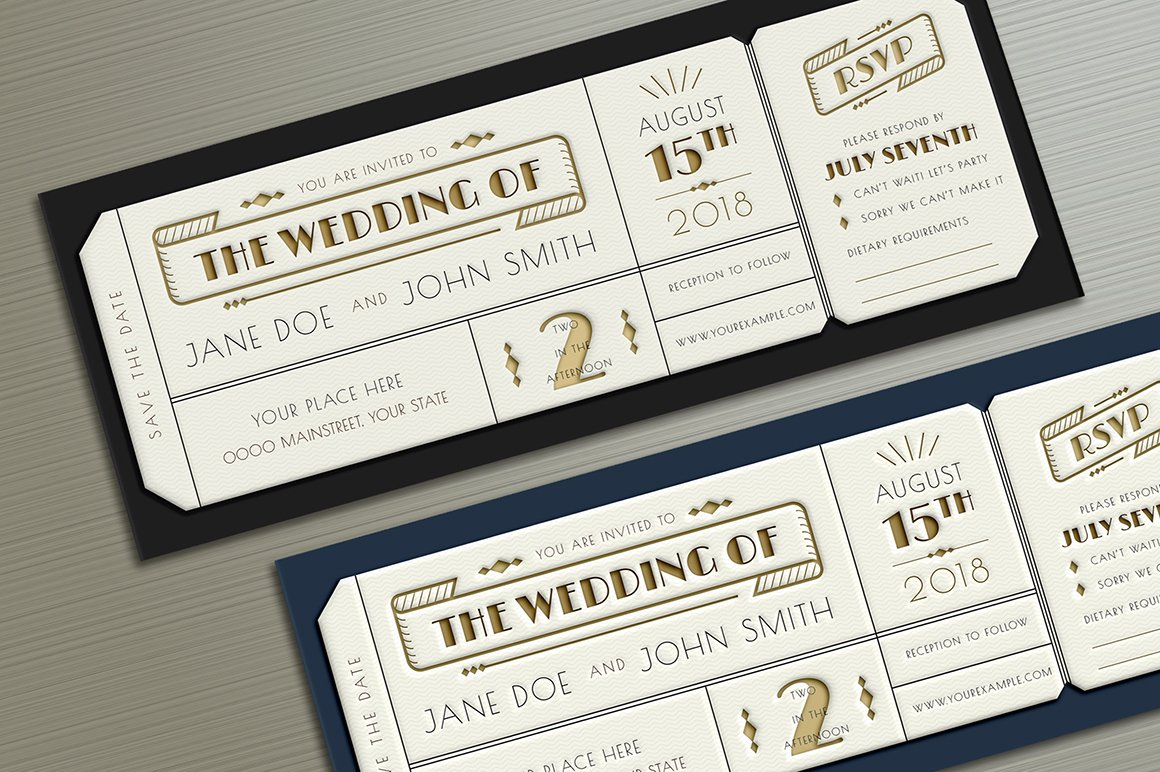 Wedding Invitation Tickets: Art Deco Wedding Invitation Ticket