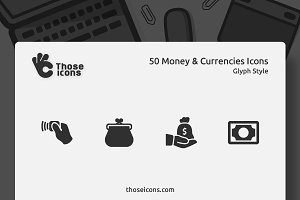 50 Money & Currencies Glyph Icons