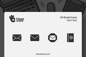 34 Email Vector Glyph Icons