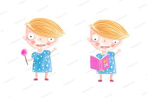 Little Girl with Candy and Book