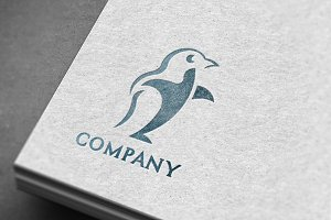 Modern Penguin Logo & Mock-Up