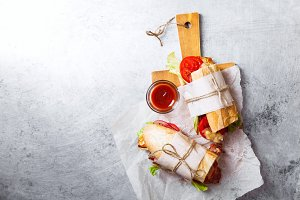 Fresh baguette sandwich bahn-mi styled