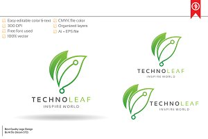 Technology Leaf Logo Template