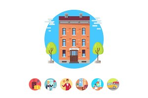 Best Hotel Isolated Illustrations in Circles Set