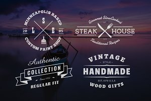 Vintage Logo PSD Template - Set of 4