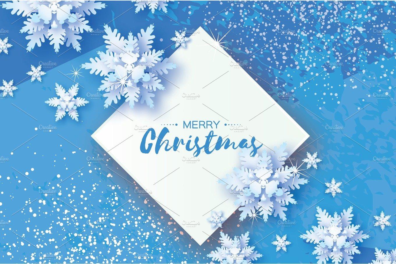 White Origami Snowfall. Merry Christmas Greetings card ... - photo#5