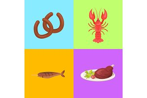 Four Pictures Concerning Food Vector Illustration