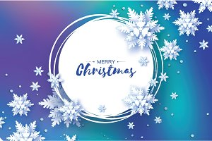 Origami Christmas Greetings card. Paper cut snow flake. Happy New Year. Winter snowflakes background. Circle frame. Space for text. mesh blue background. Vector