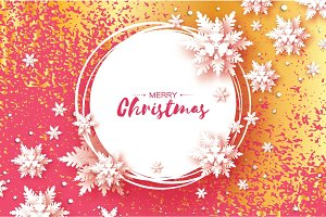 Origami Christmas Greetings card. Paper cut snow flake. Happy New Year. Winter snowflakes background. Circle frame. Space for text. Pink background with gold metal glitter texture. Vector