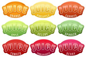 Unique Set of Juice Labels.