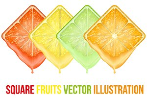 Unique Set of icons Square fruits sl