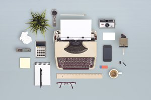 Retro typewriter desk items