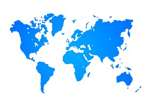 World map with white background