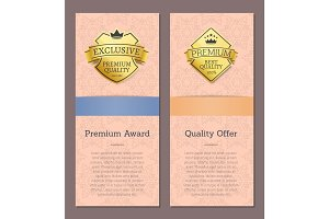 Set of Golden Labels with Text Vector Illustration