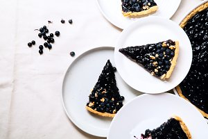 Pieces of blueberry tart