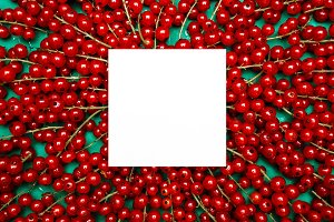 Background of ripe juicy red currant berries. top view