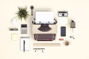 vintage typewriter items cloud