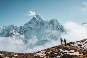 Travelers in the Himalaya mountains