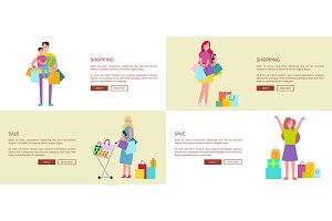Set of Four Web-pages Vector Illustration on White