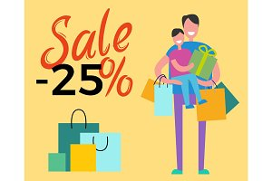Sale -25% Daddy and Son on Vector Illustration