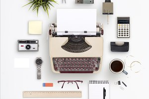Retro typewriter items cloud