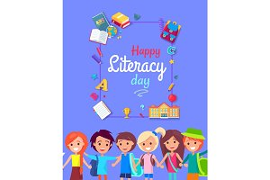 Happy Litearacy Day Postcard Vector Illustration