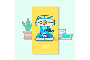 Coffee machine with a hot coffee cup.Flat thin line style vector icon. Single design element for website, business