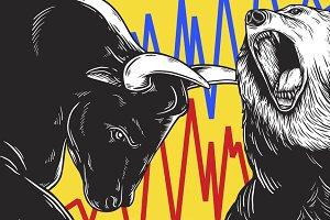 Bull and Bear Market vector