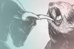 Bear Fighting With Bull vector