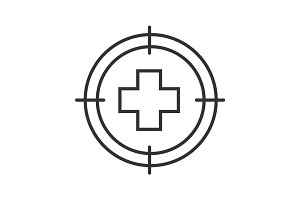 Aim on medical cross linear icon
