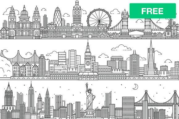 vector city skylines illustrations creative market