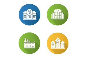 City buildings flat design long shadow glyph icons set