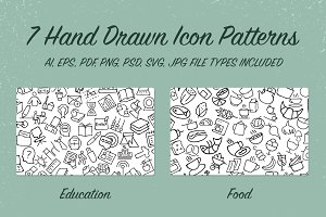 7 Hand Drawn Icon Patterns - Vol 1