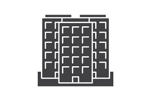 Multi-storey building glyph icon