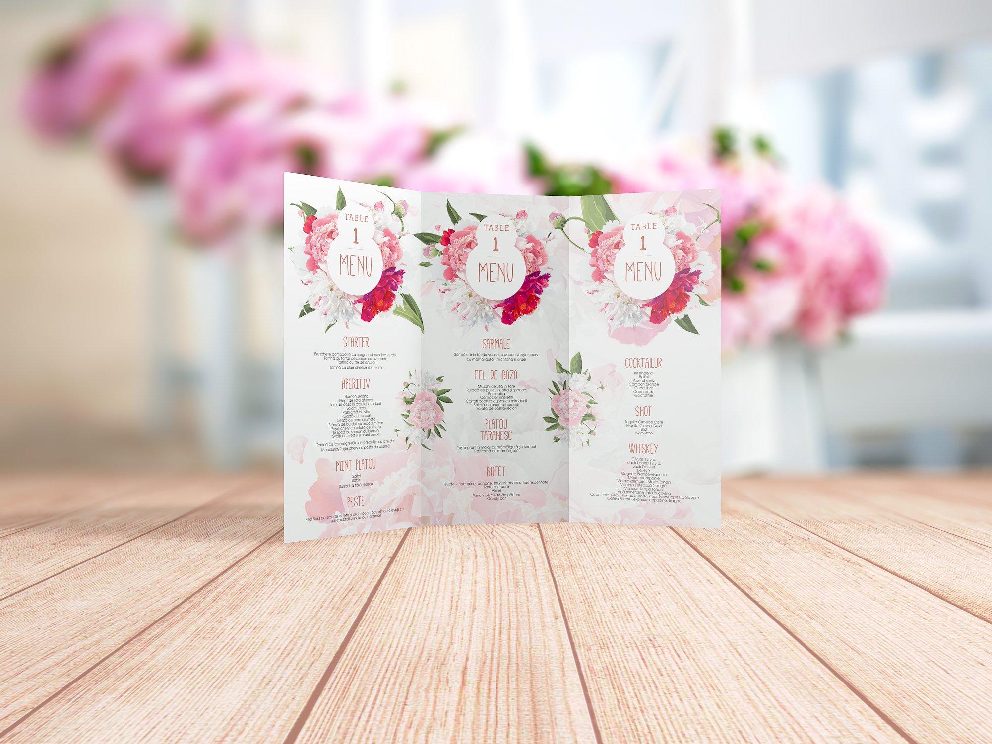 Floral Wedding Menu Stationery Templates Creative Market