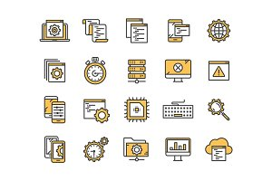 Seo and app development. Search engine optimization. Internet, e-commerce.Thin line yellow web icon set. Outline icons collection. Vector illustration.
