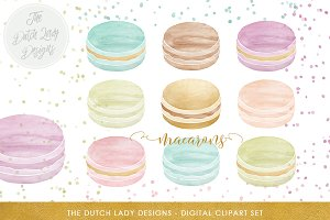 Watercolor Macarons & Confetti Set