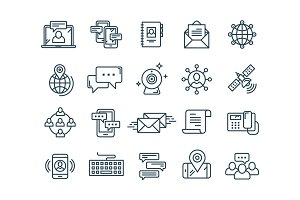 Communication. Social media. Online chatting. Phone call, app messenger. Mobile,smartphone. Computing.Email. Thin line web icon set. Outline icons collection. Vector illustration.