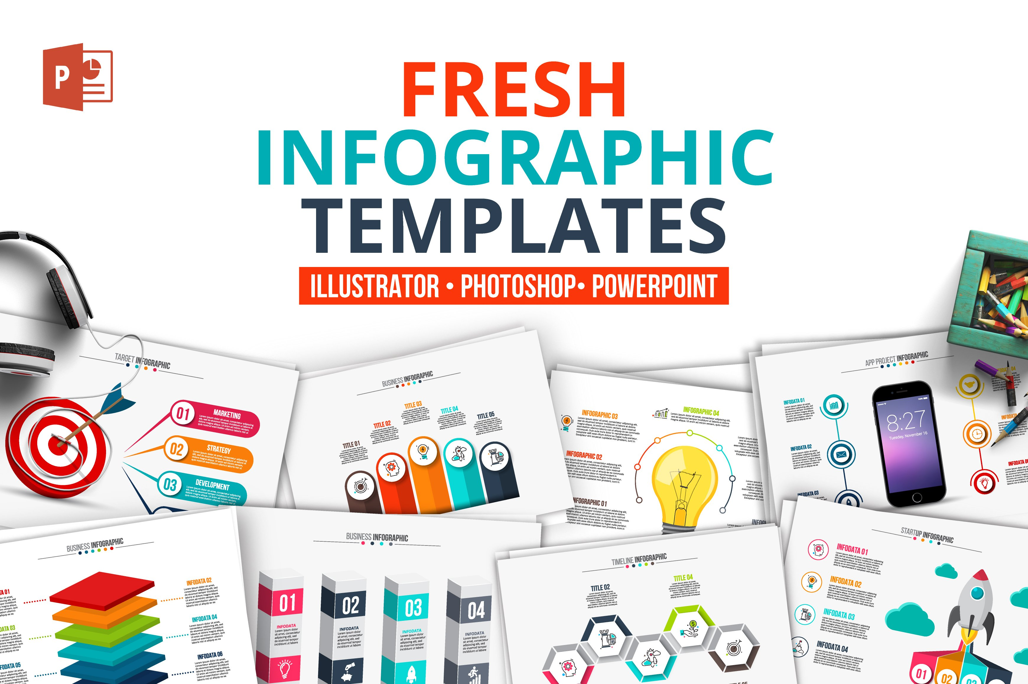 fresh powerpoint infographics presentation templates creative market