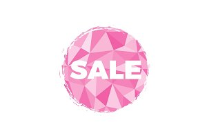 SALE Pink illustration with polygon background