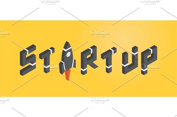 START UP Concept With Rocket In Isometric Style