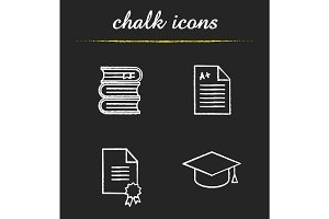High education chalk icons set