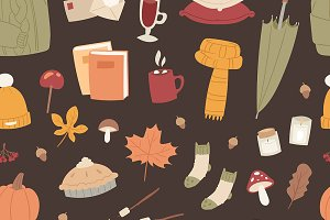Autumn season icons symbols pattern